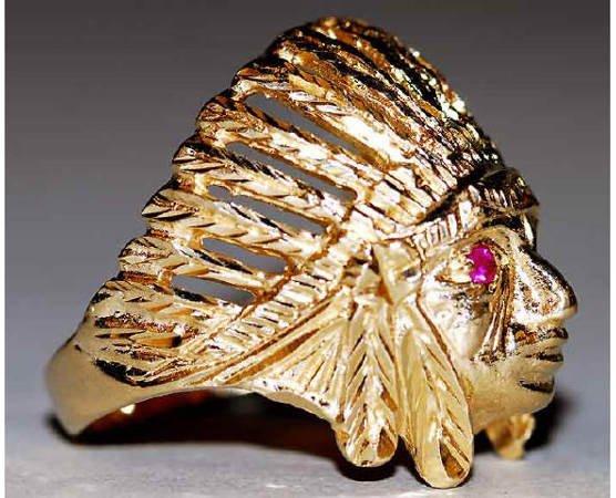 1023: 14kt Gold American Indian Men's Ring Ruby Eyes