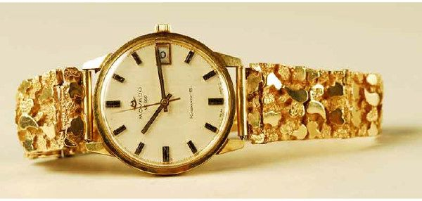 1312: Men's 14k Gold Movado Watch Gold Nugget Band