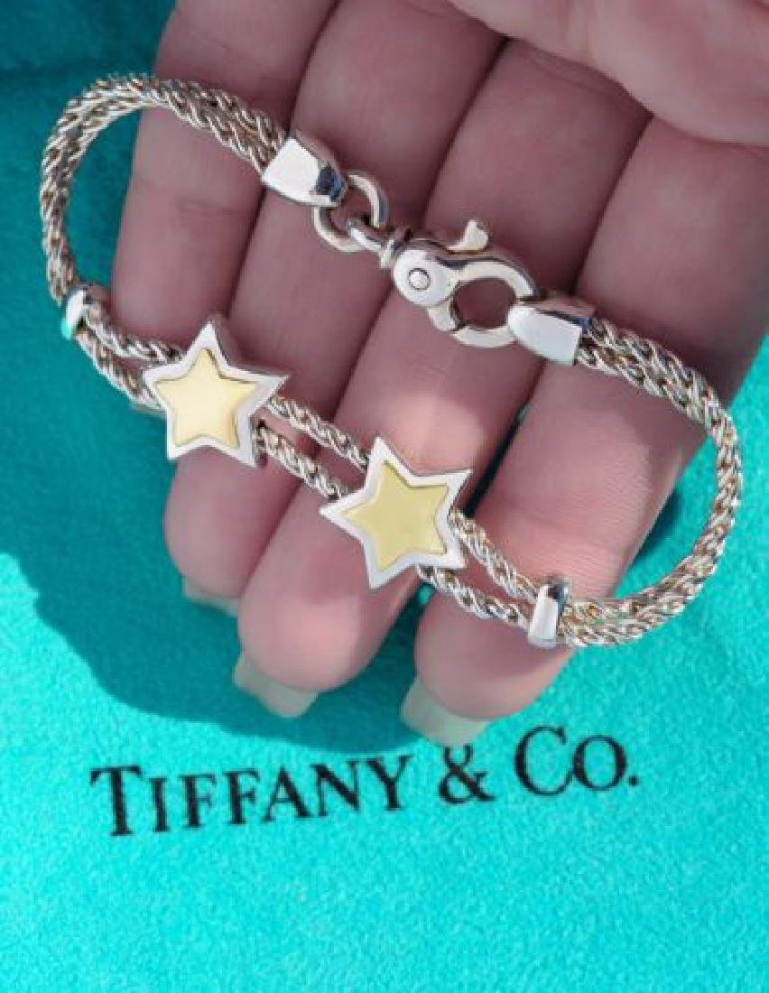 Tiffany and Co 18K Gold Sterling Silver Double Star 7.5