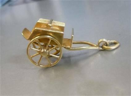 14Kt Yellow Gold Rickshaw Cart Charm Pendant with