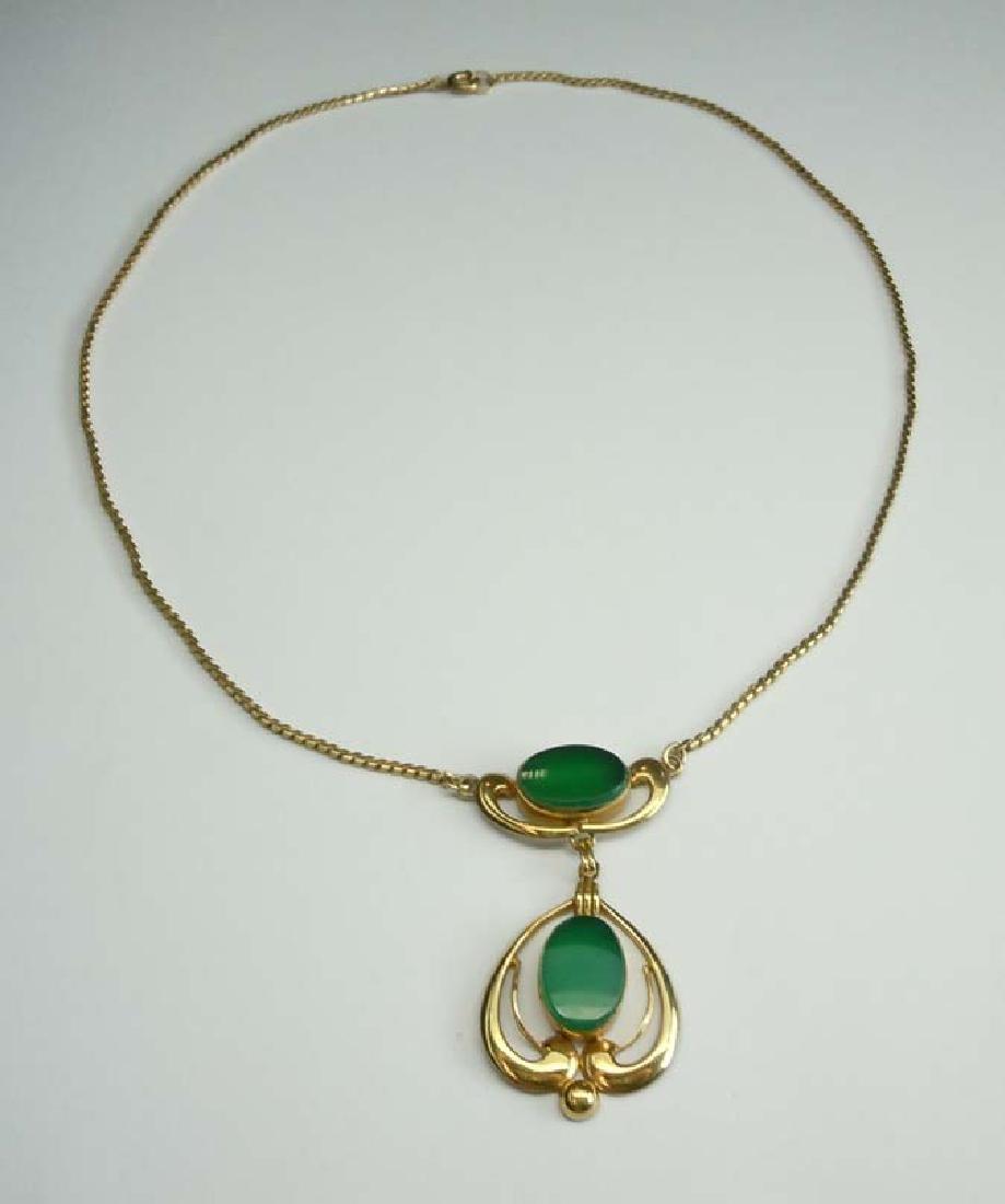 Art Nouveau Style Van Dell Faux Chrysoprase Green Glass