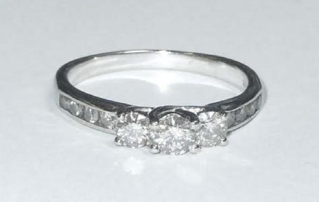 Vintage 10Kt White Gold Diamond Three Stone Engagement