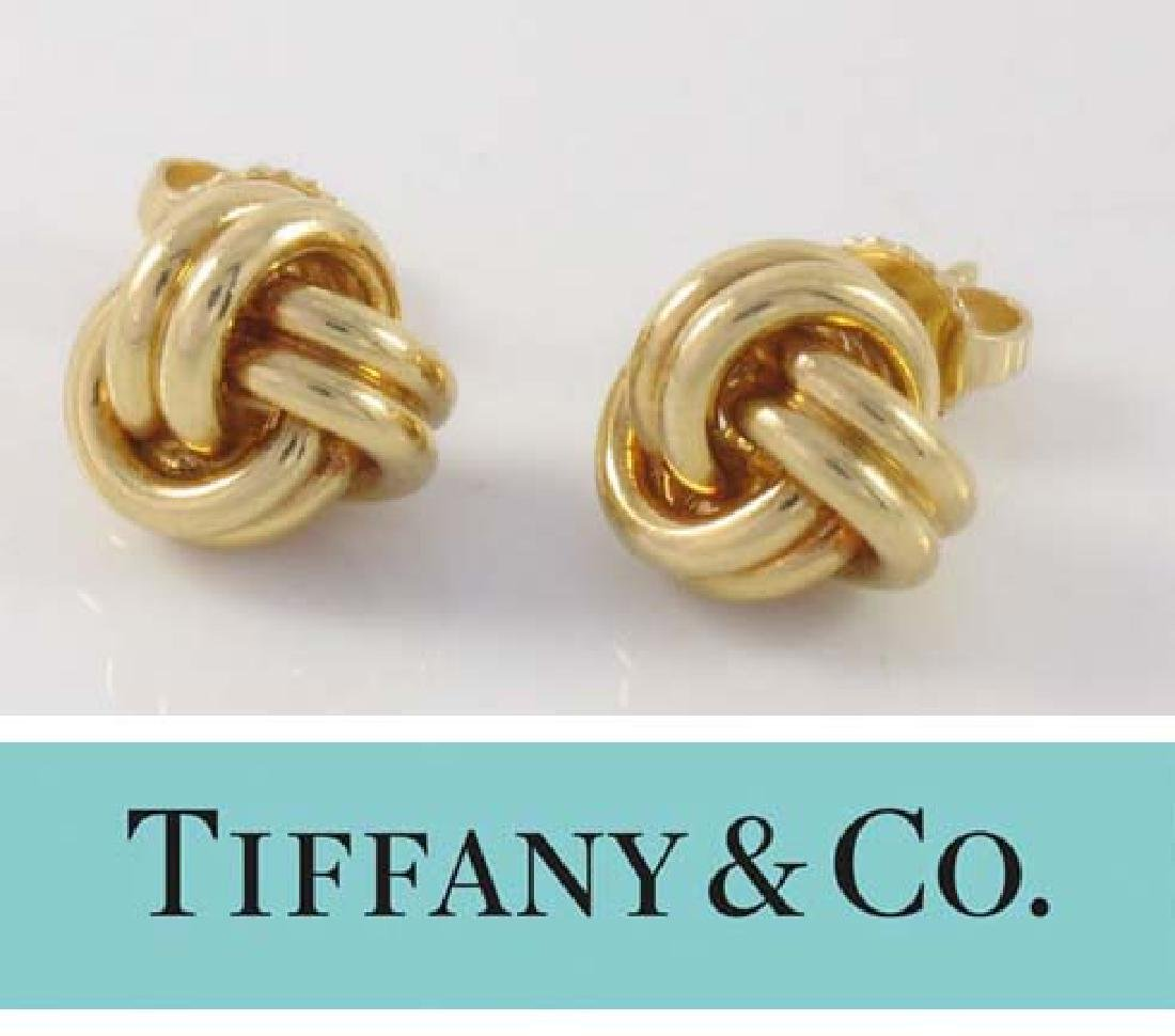 Tiffany and Co. 18kt Yellow Gold Love Knot Post Back