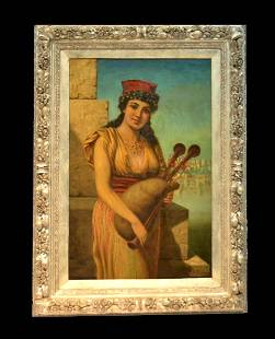 Anton Brentano Oil on Canvas Painting Gypsy Girl with