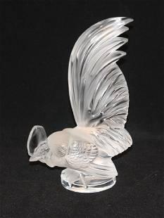 Lalique France Rooster Coq Nain Car Mascot Sculpture