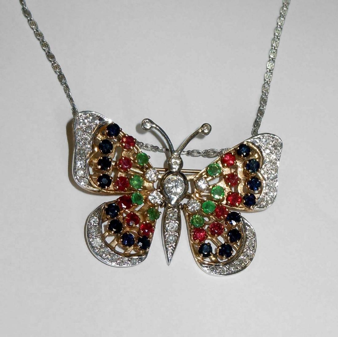 14kt Gold Diamond Ruby Emerald Sapphire Butterfly