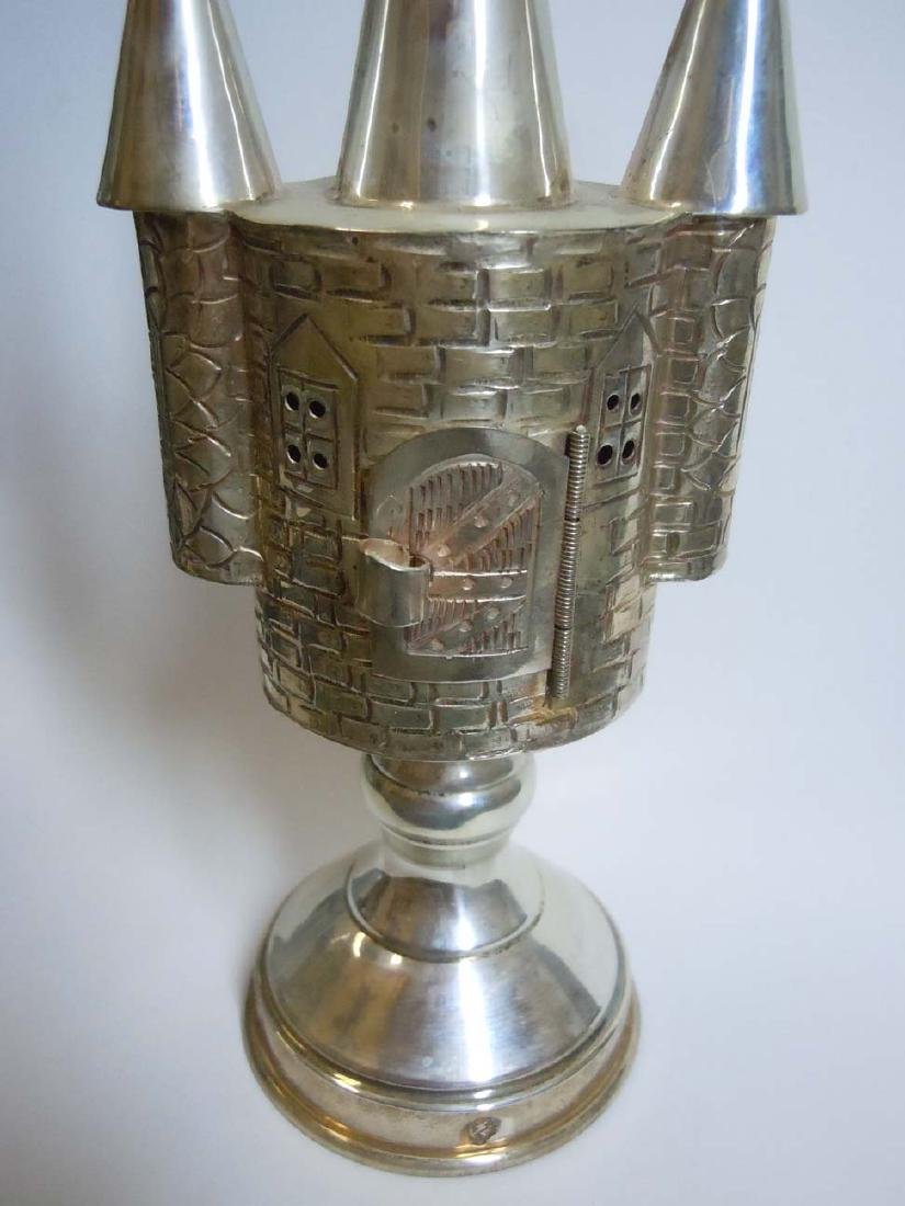 Castle Form Sterling Silver Judaica Spice Tower - 2