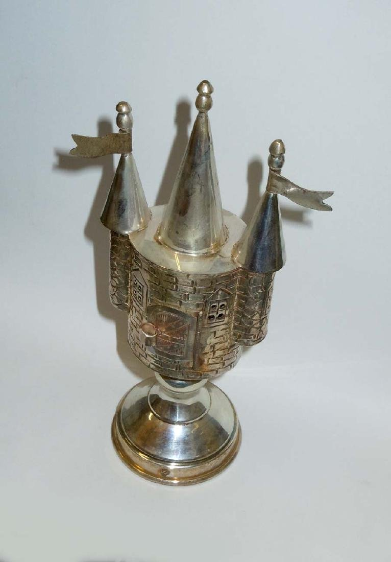 Castle Form Sterling Silver Judaica Spice Tower - 3
