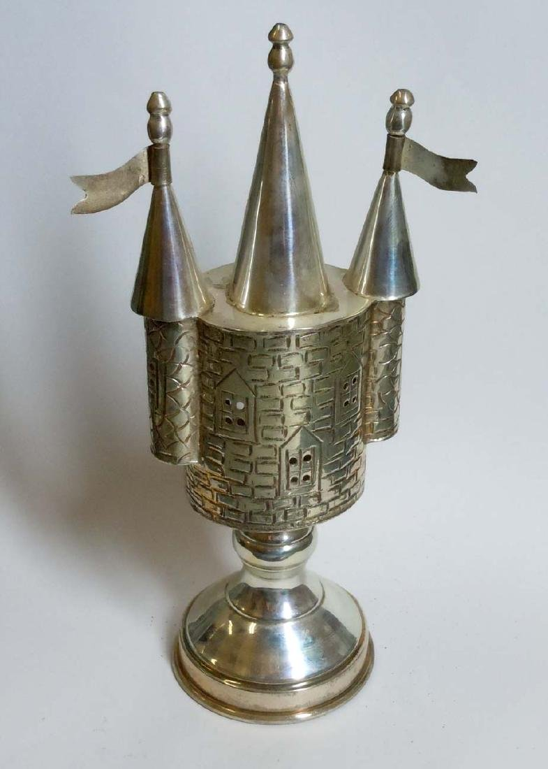 Castle Form Sterling Silver Judaica Spice Tower - 4