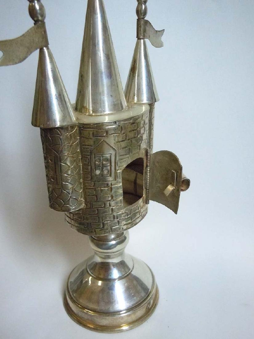 Castle Form Sterling Silver Judaica Spice Tower - 5
