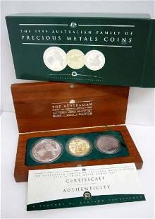 1999 Pirth Mint Silver Gold Platinum Box Set COA Koala