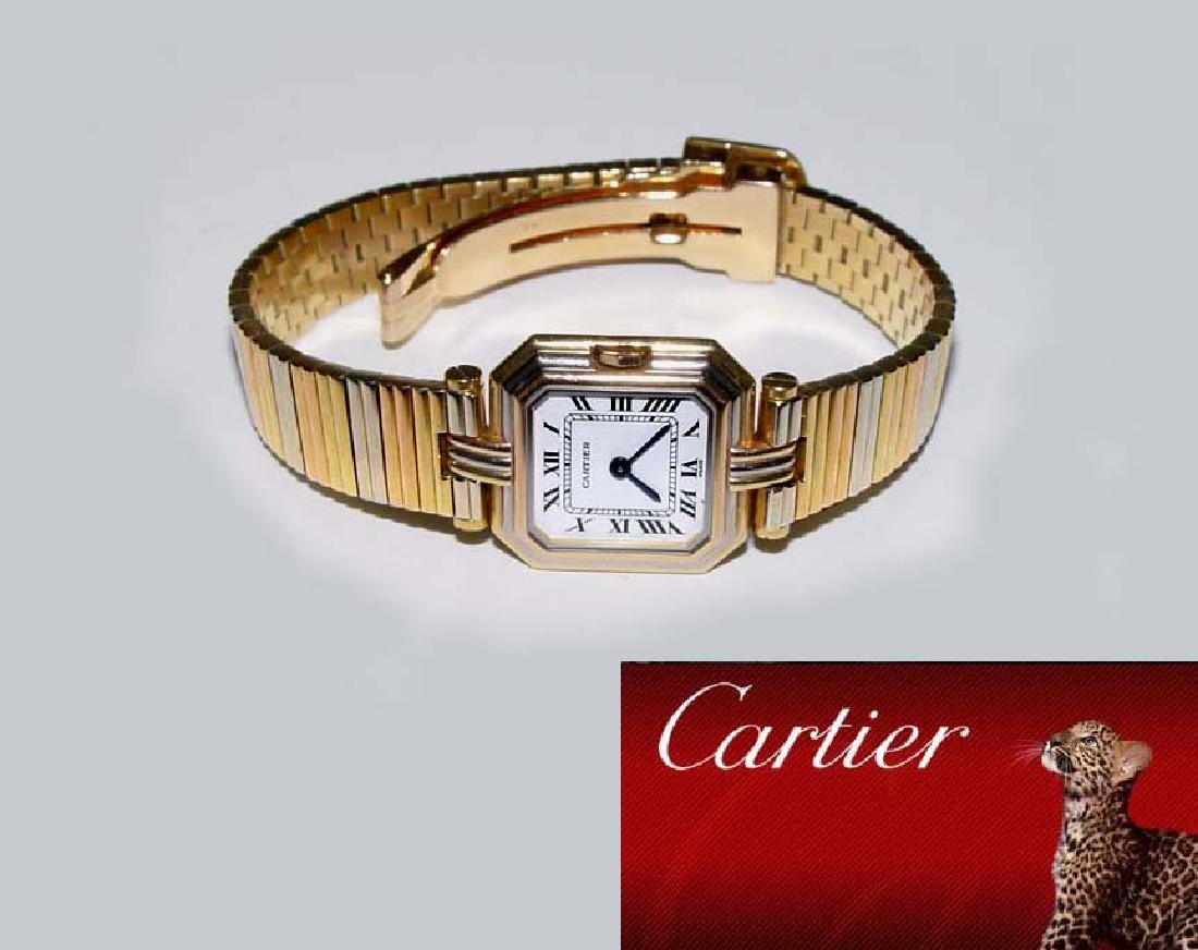 Ladies Cartier Trinity Tri Color 18kt Gold Dress Watch,