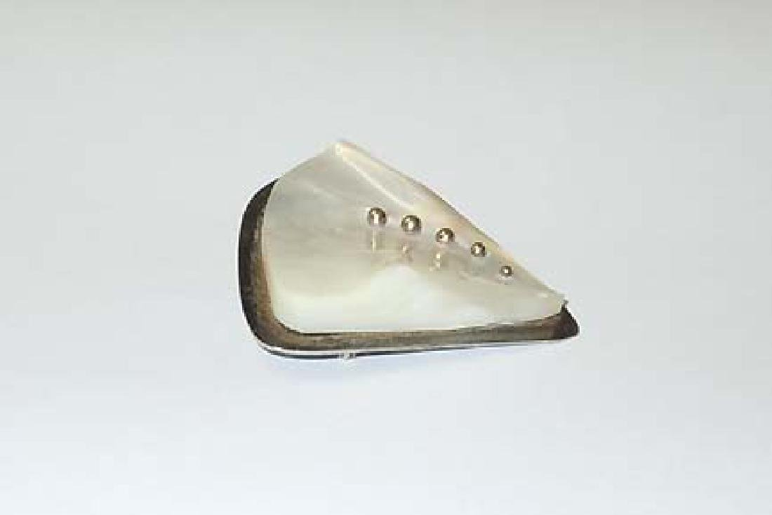 Modern Sterling 9ct Gold Mother Pearl Abolon Brooch - 4