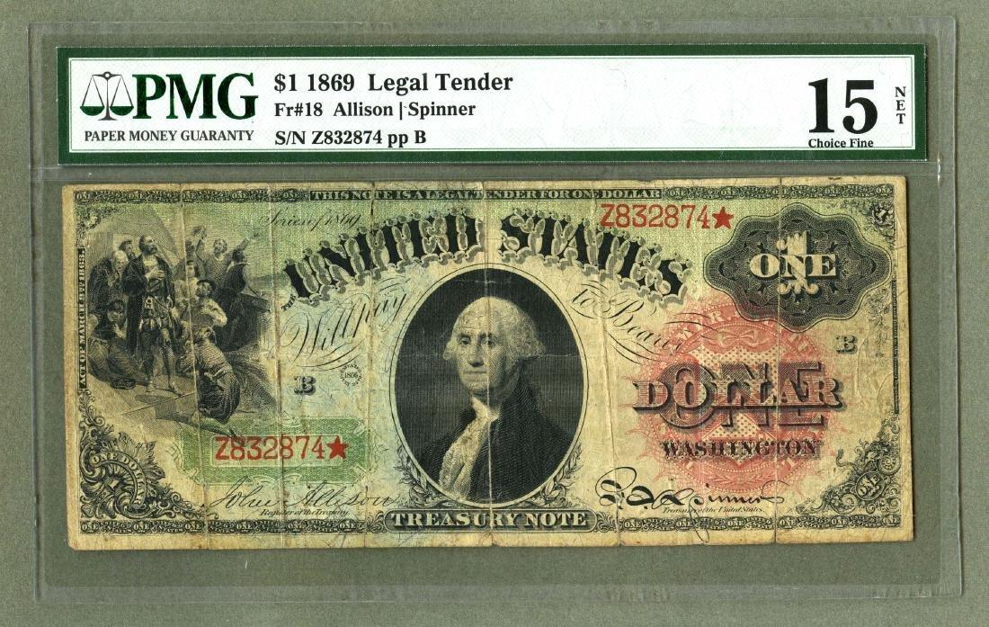 Rare 1869 One Dollar Legal Tender RAINBOW STAR Note PMG