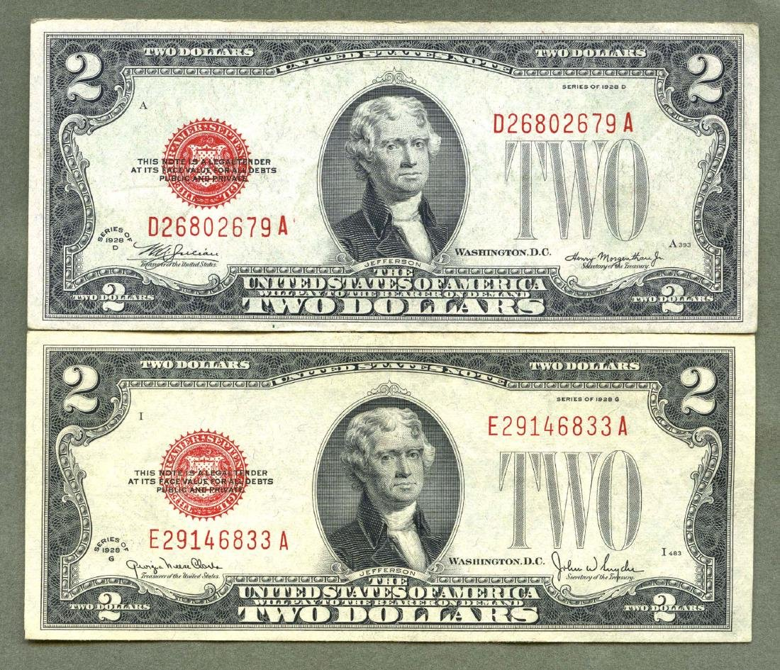 1928 D and G Series Two 2 Dollar Red Seal Note Bill AU