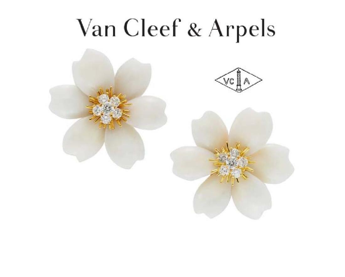 18kt Van Cleef and Arpels White Coral Diamond Earrings