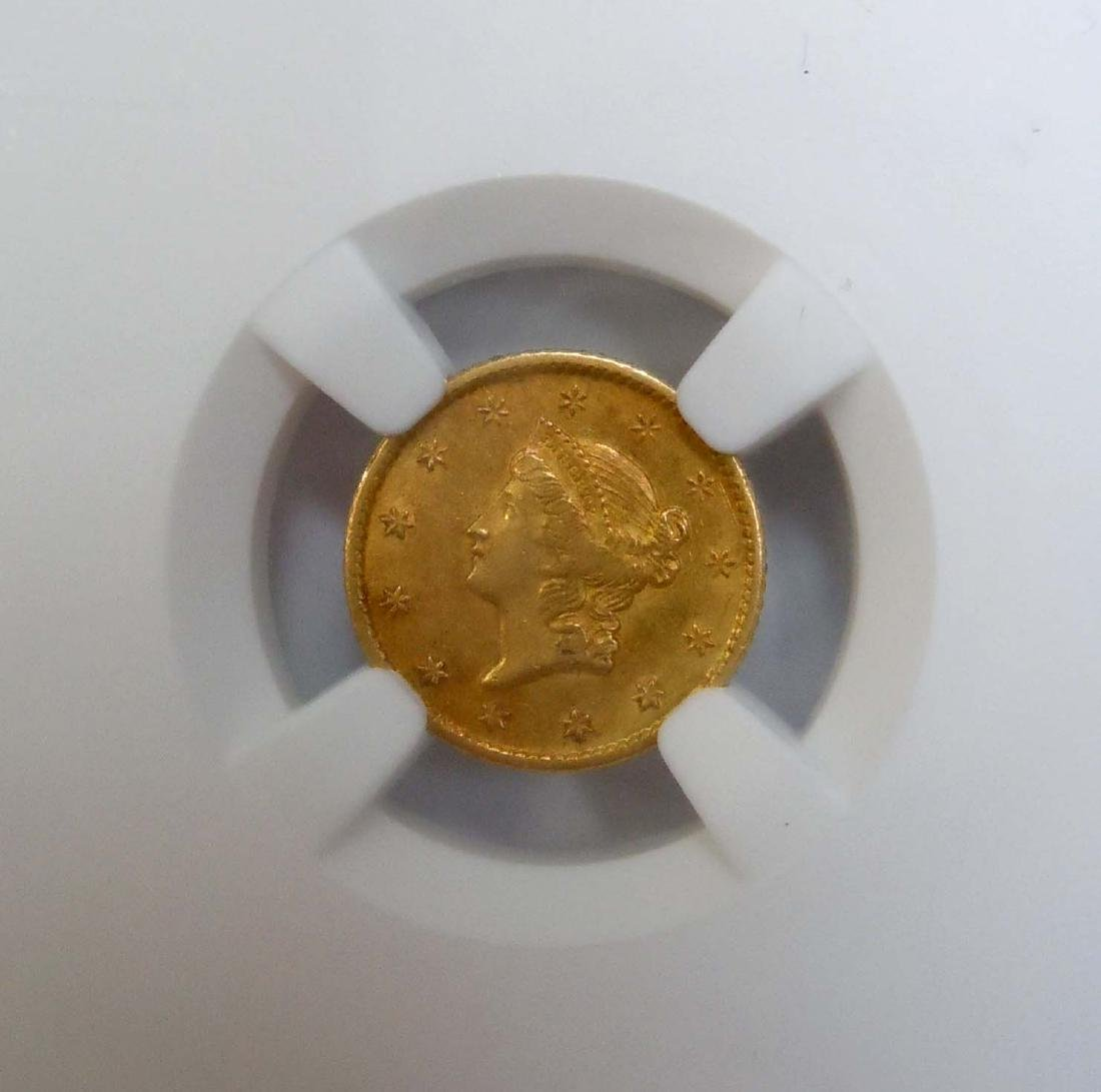 1849-O NGC AU58 G$1 Dollar Gold New Orleans Minted,