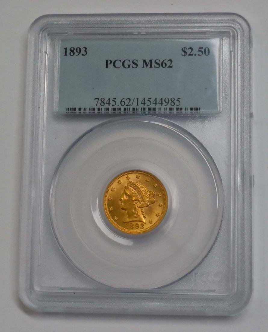 1893 Quarter Eagle, $2.5 Gold Liberty PCGS MS 62