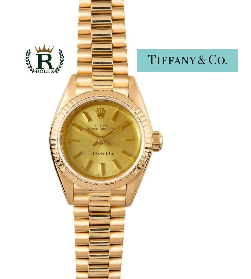 14kt Gold Rolex For Tiffany Ladies President 6917