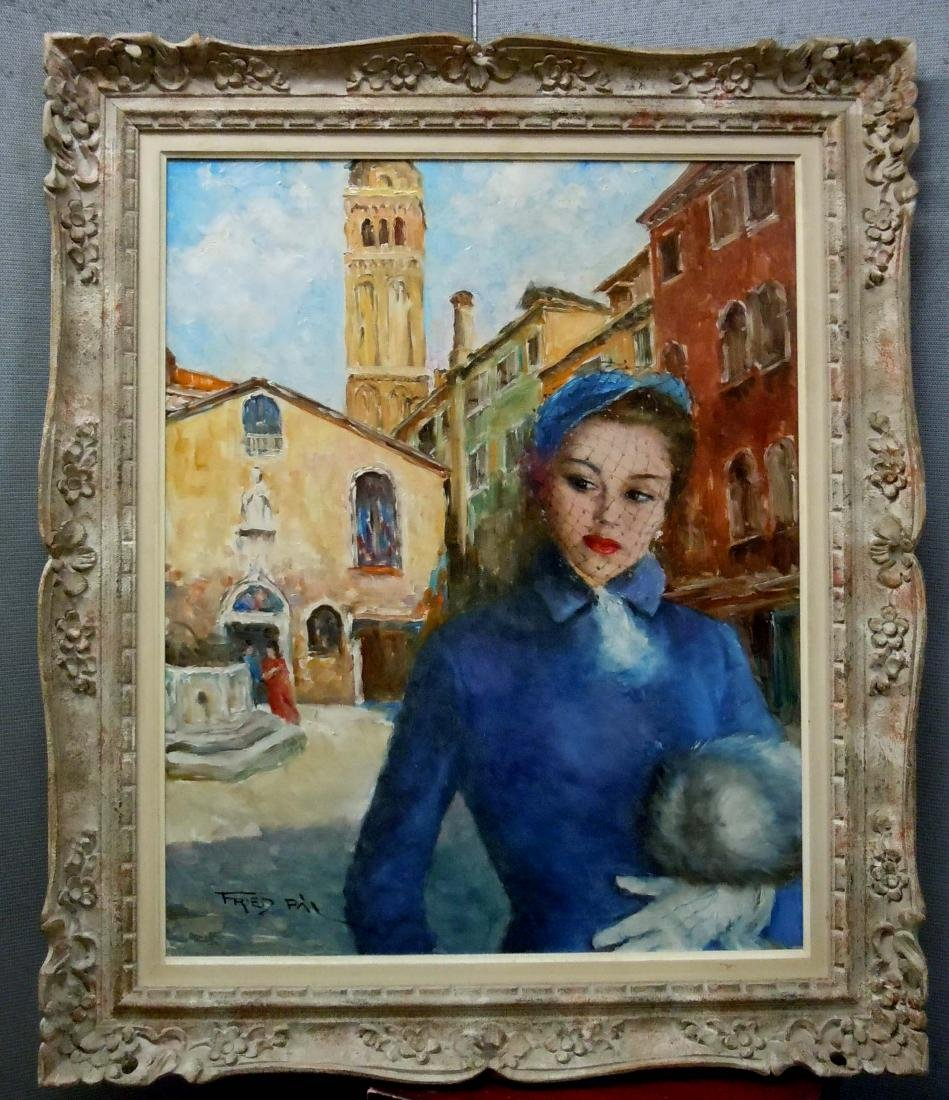 Pal Fried Oil Painting Maxine Young Woman in Blue with