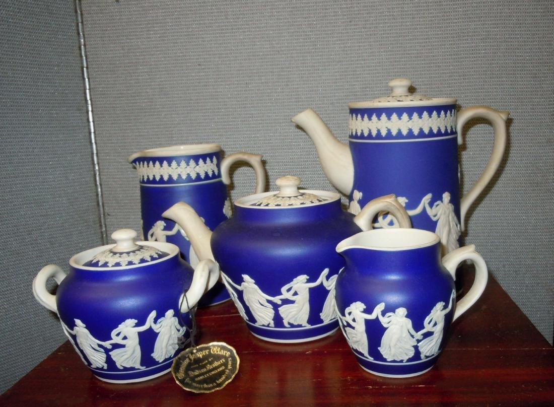 DUDSON BROTHERS Cobalt Blue JASPERWARE Coffee Tea Set