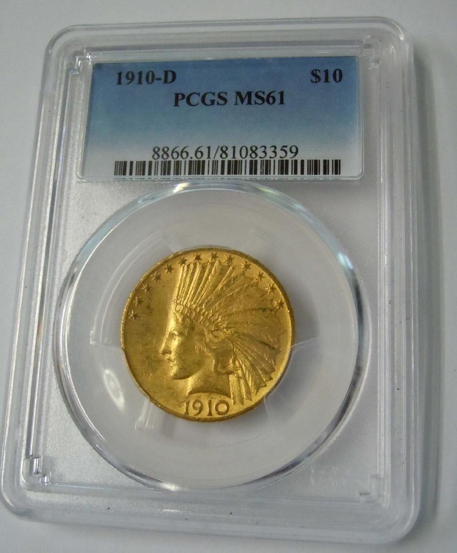 1910-D Ten 10 Dollar Gold Indian PCGS MS61 US Mint Coin