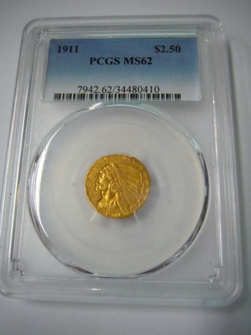 1911 Indian, $2.5 Dollar Gold, PCGS MS62, Quarter