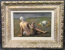 Robert Brackman Reclining Nude On Beach Oil on Canvas