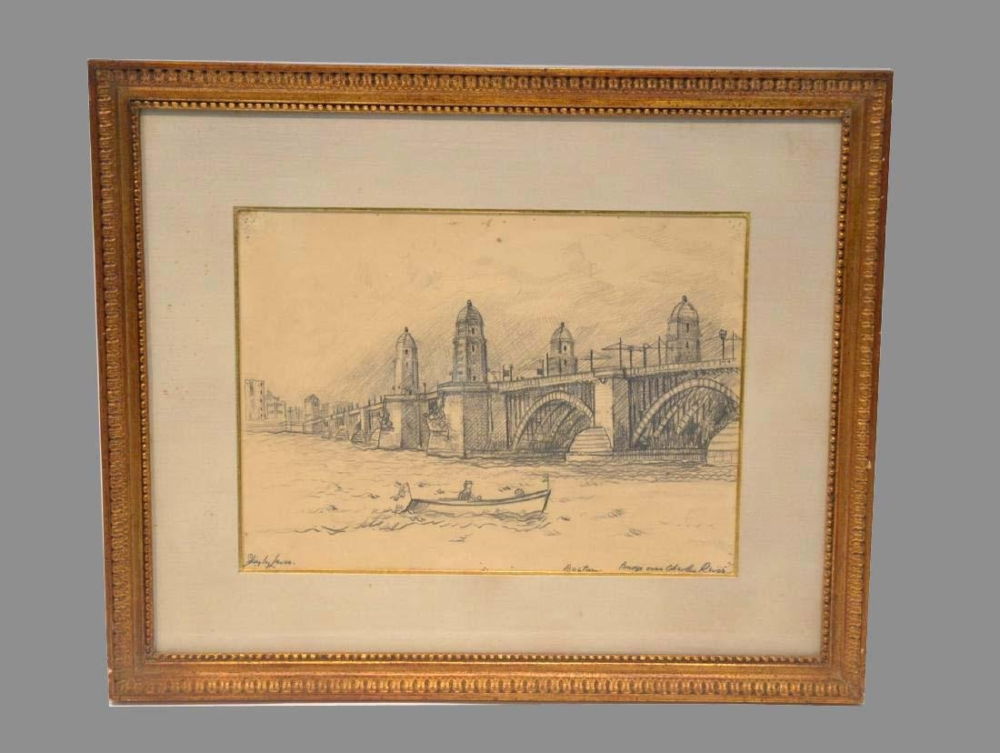 Richard Hayley Lever, Pencil Drawing, Charles River,