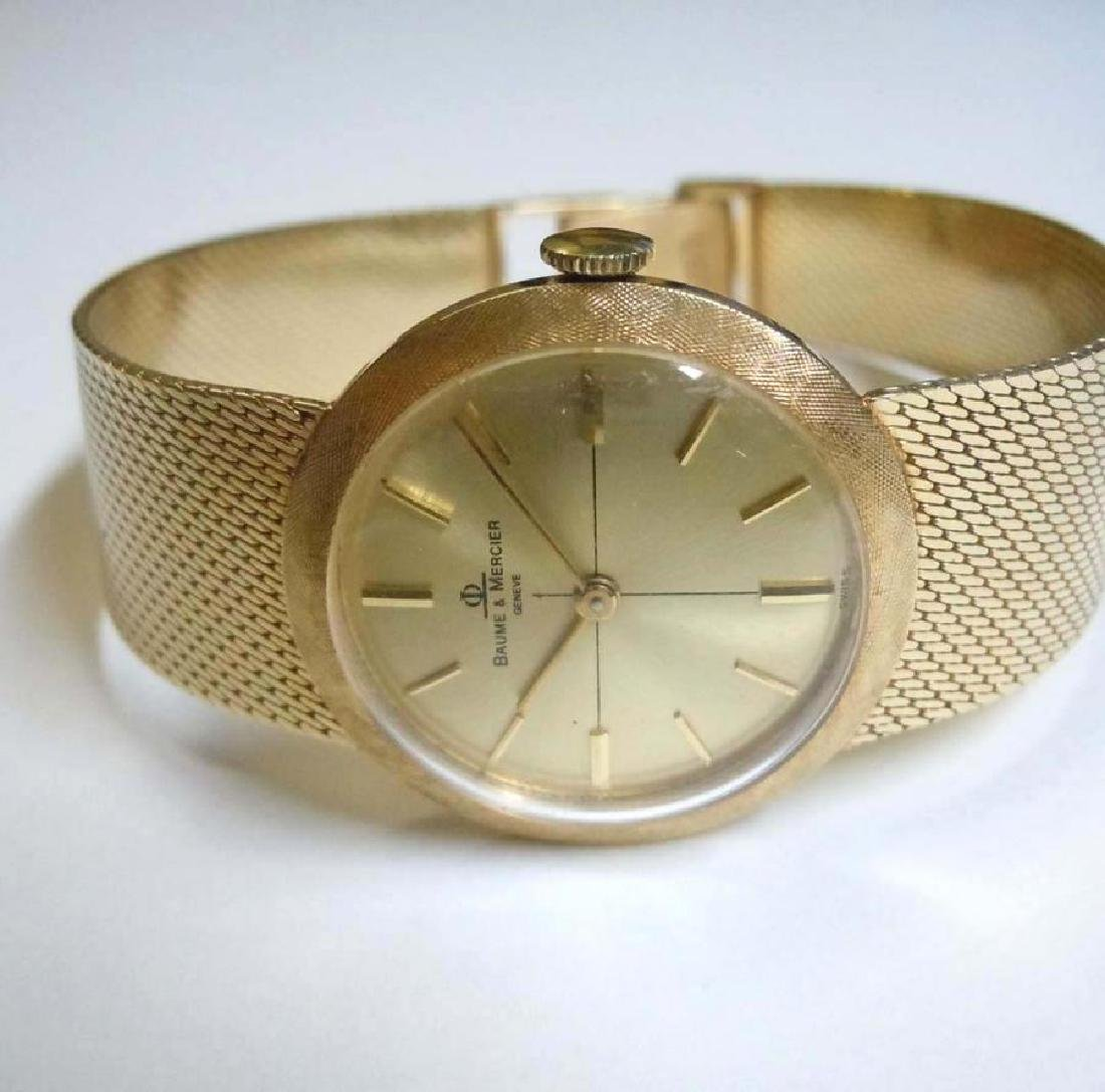 Ladies 14kt Gold Baume Mercier Satin Bezel Dress Watch