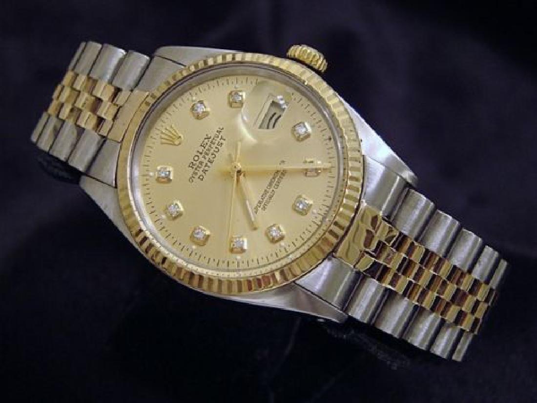 Mens Rolex Datejust 18K Gold Steel Watch Champagne