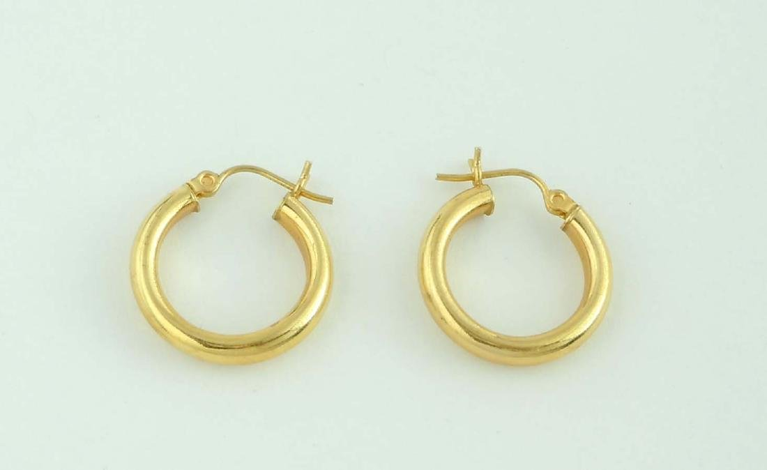 14Kt Yellow Gold Hoop Earrings; marked '14K', comes in