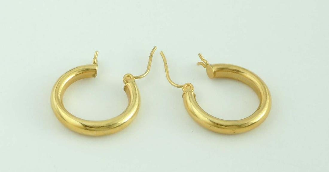 14Kt Yellow Gold Hoop Earrings; marked '14K', comes in - 5