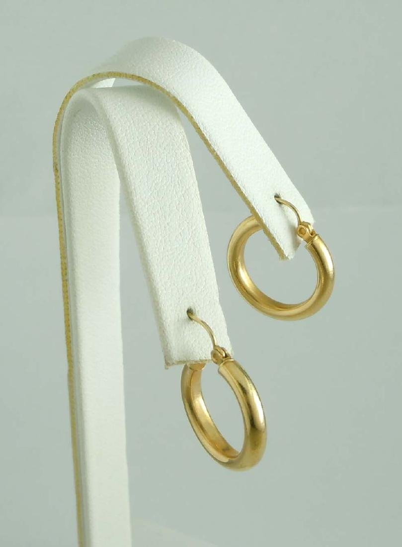 14Kt Yellow Gold Hoop Earrings; marked '14K', comes in - 6