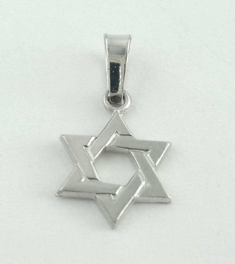 Estate 14Kt White Gold Jewish Star Shield or Magen of