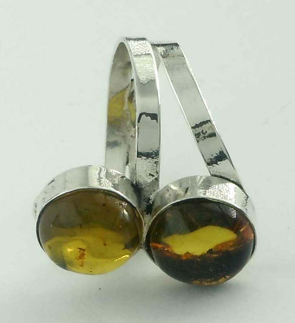 Vintage Sterling Silver Double Amber Cabochon Stack