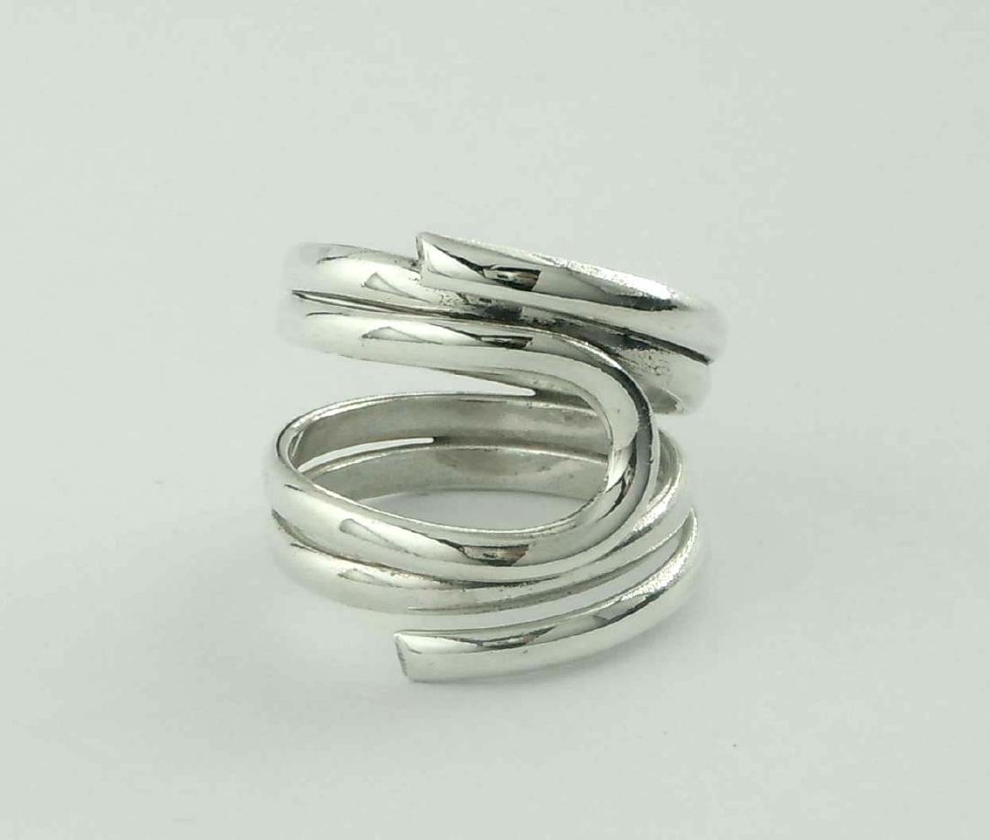 Modern Sterling Silver Coil Ring; marked, '925', with a