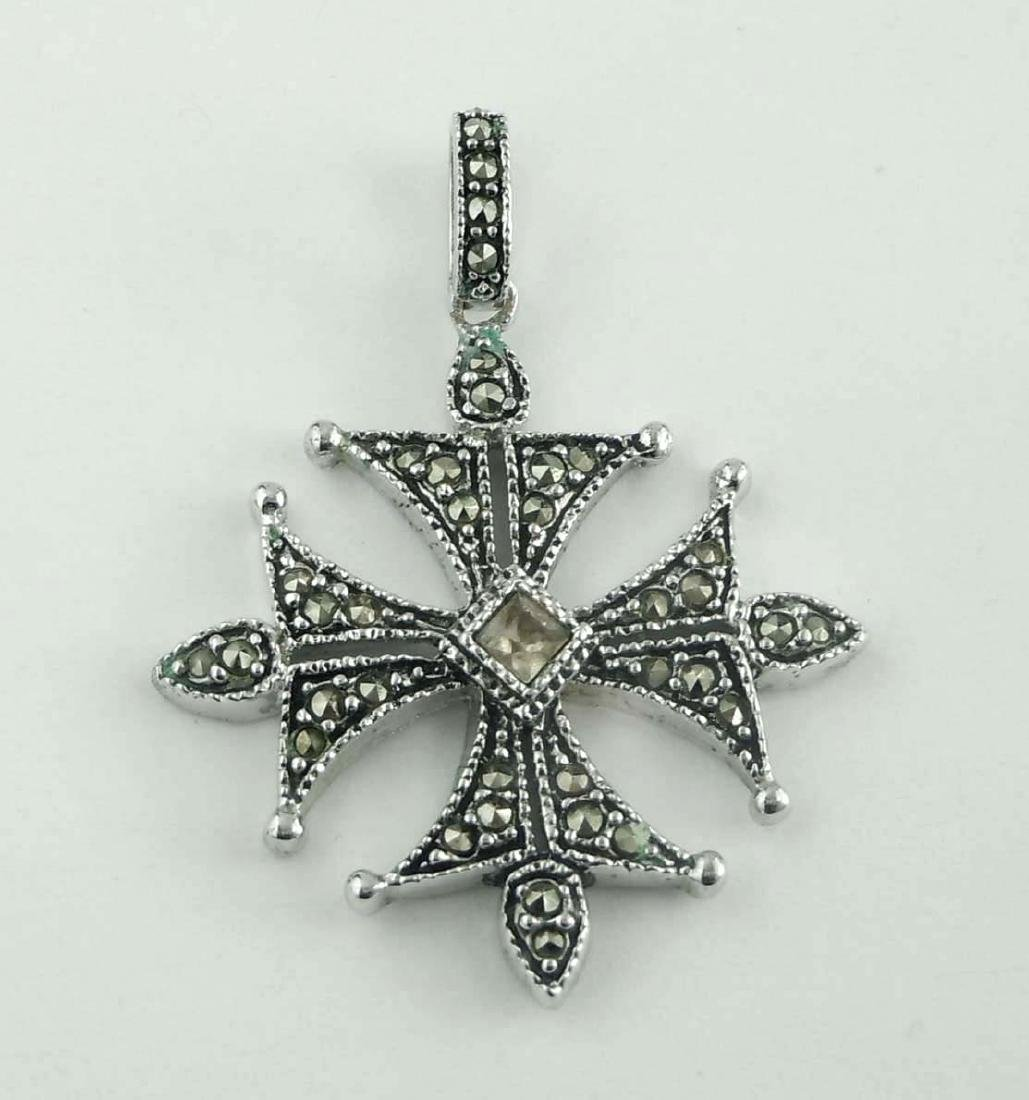 Marcasite and Amber CZ Embellished Sterling Silver