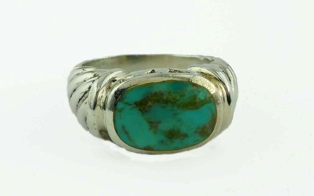 Vintage Sterling Silver Turquoise Ring Size 8; marked,