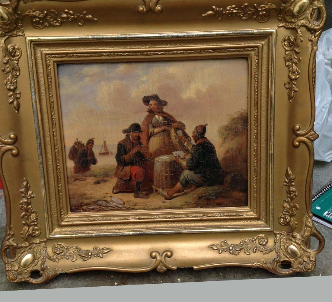 19th C. Dutch Oil on Panel Painting Card Players Housed