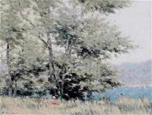 ANDRE GISSON Figures in a Field with Trees oil painting