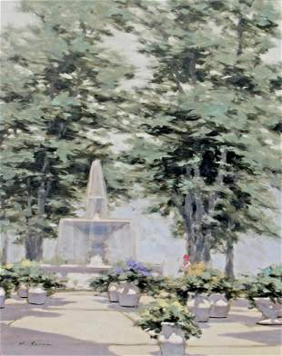 ANDRE GISSON Fountain Oil Painting Woman and Flower