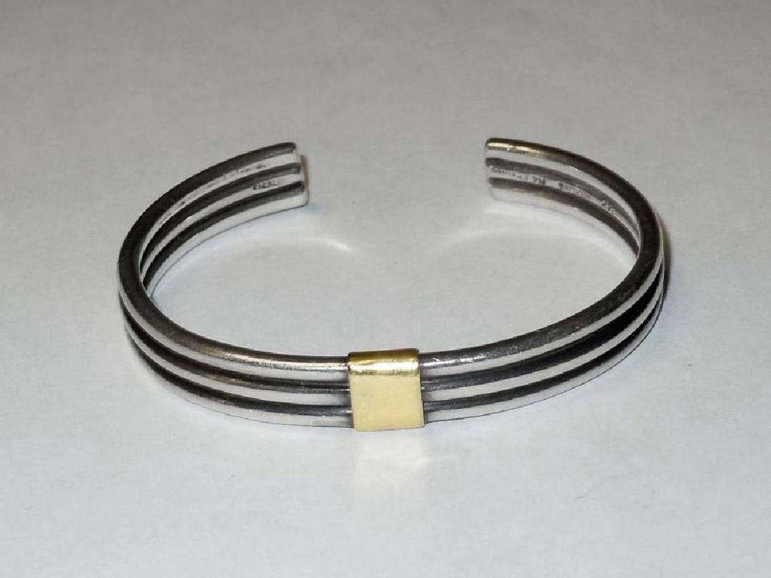 M & J Savitt 14kt Gold Sterling Silver Designer Bangle