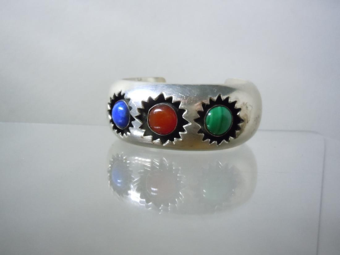 Willie Shaw Sterling Silver Cuff Bracelet Malachite