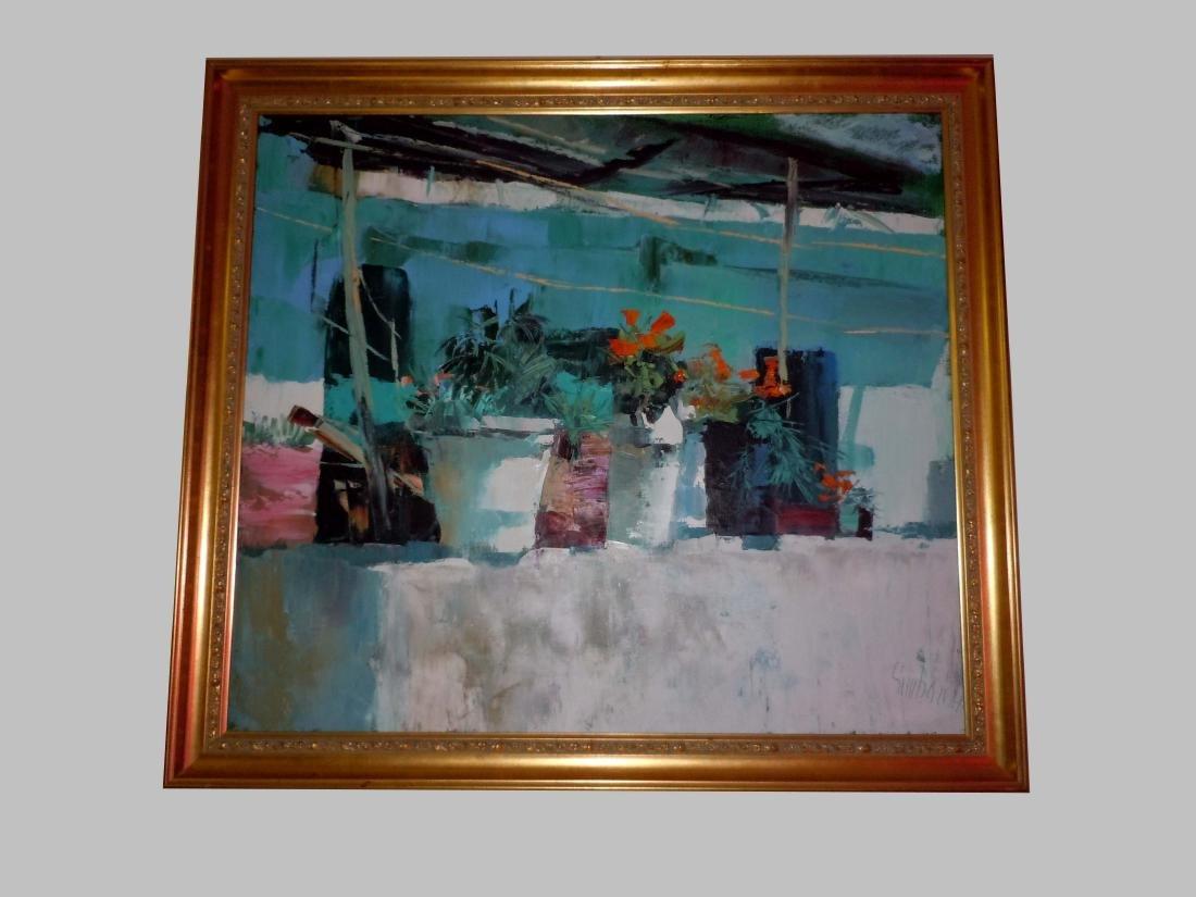 Large Nicola Simbari Balcony in Amalfi Oil Painting
