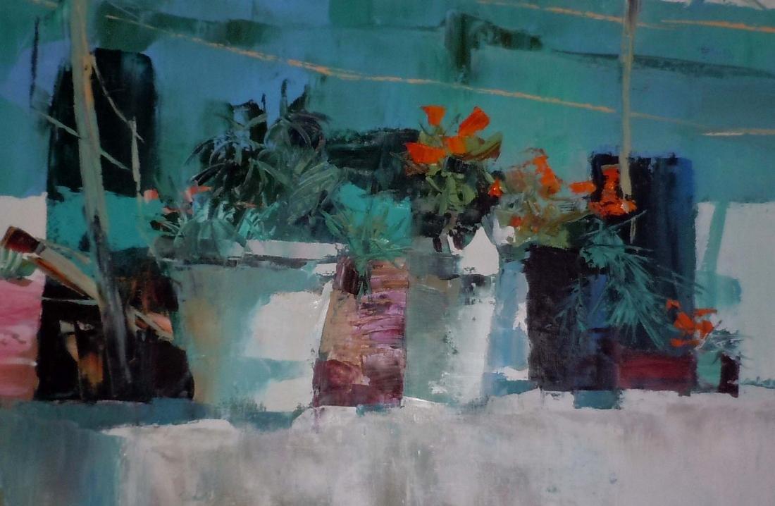 Large Nicola Simbari Balcony in Amalfi Oil Painting - 2