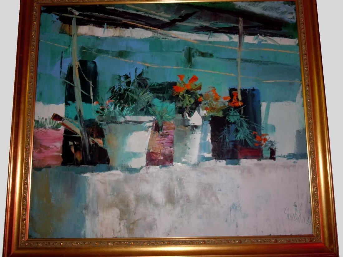 Large Nicola Simbari Balcony in Amalfi Oil Painting - 3