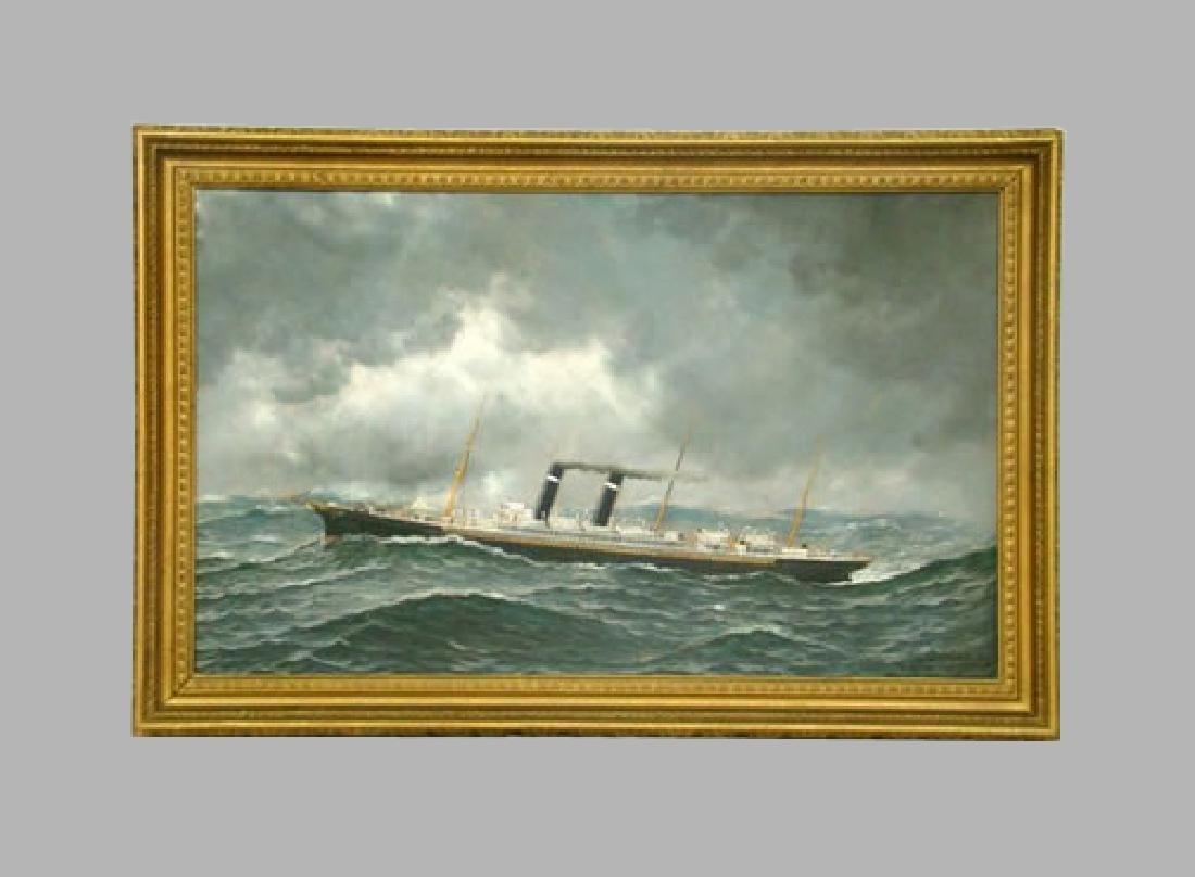 Antonio Jacobsen Philadelphia Steam Ship Oil Painting