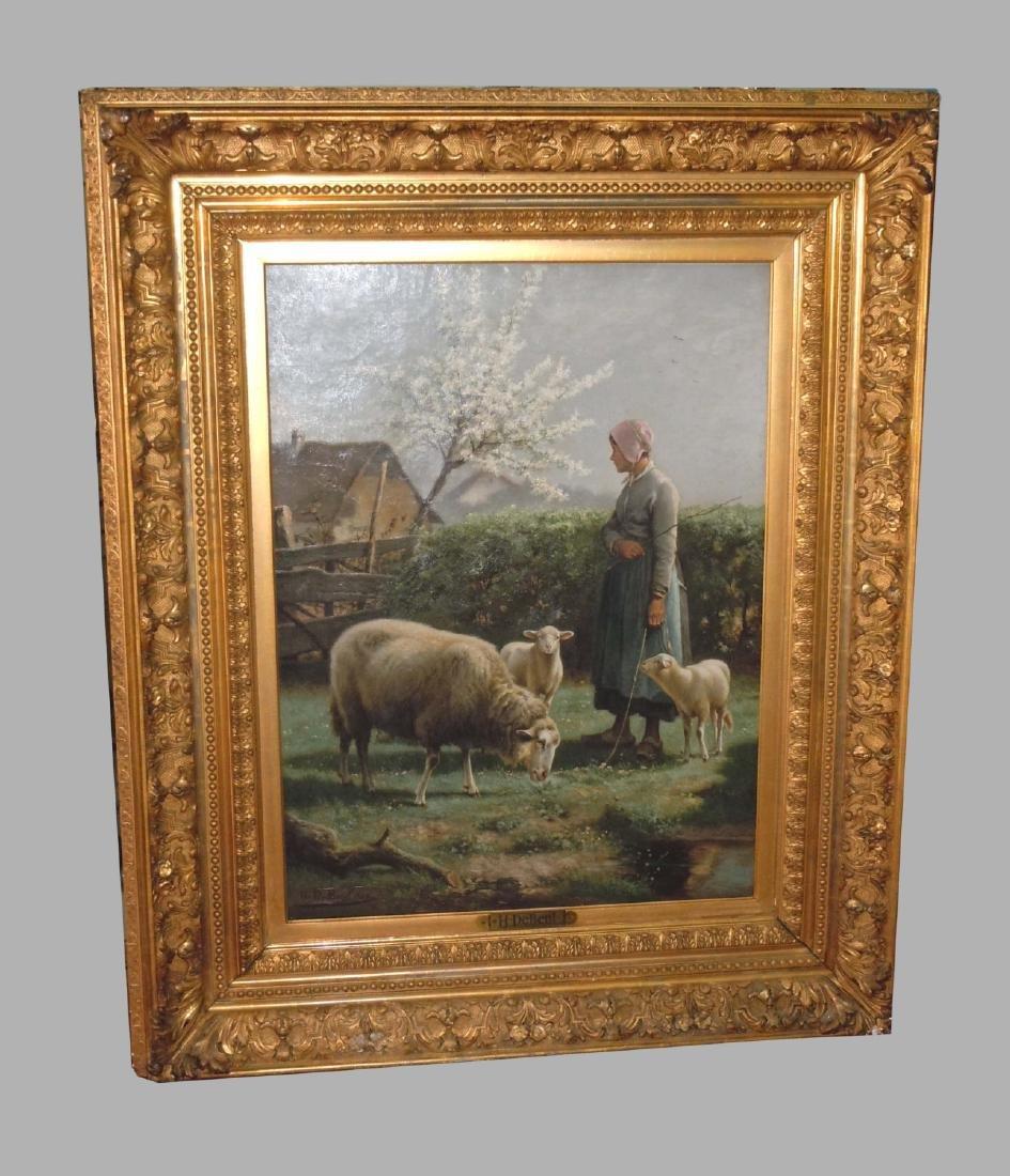 19th Century Belgium Oil Painting H. D Beul Shepherdess