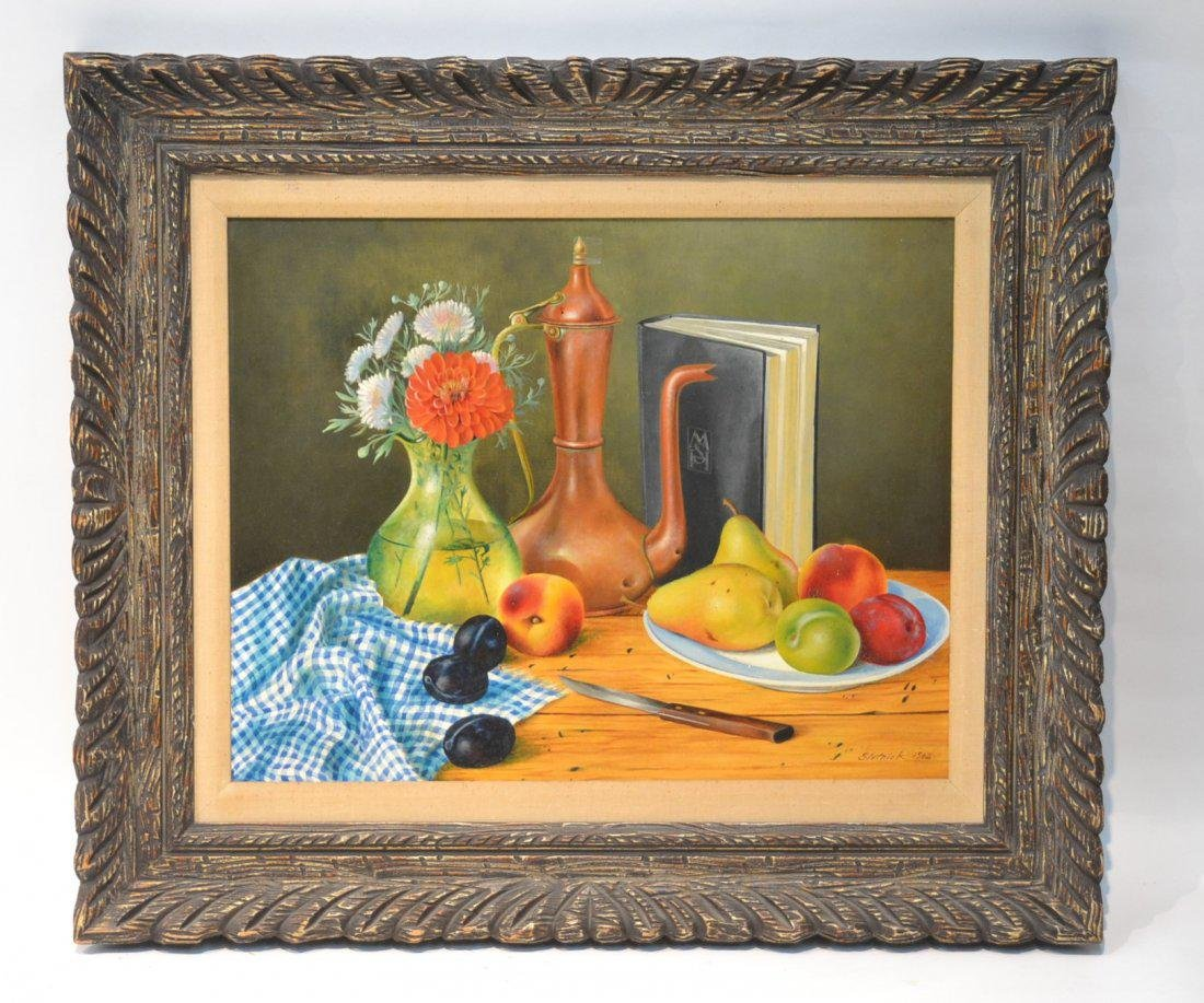 Mortimer H. Slotnick Oil Painting 1962 Still Life with